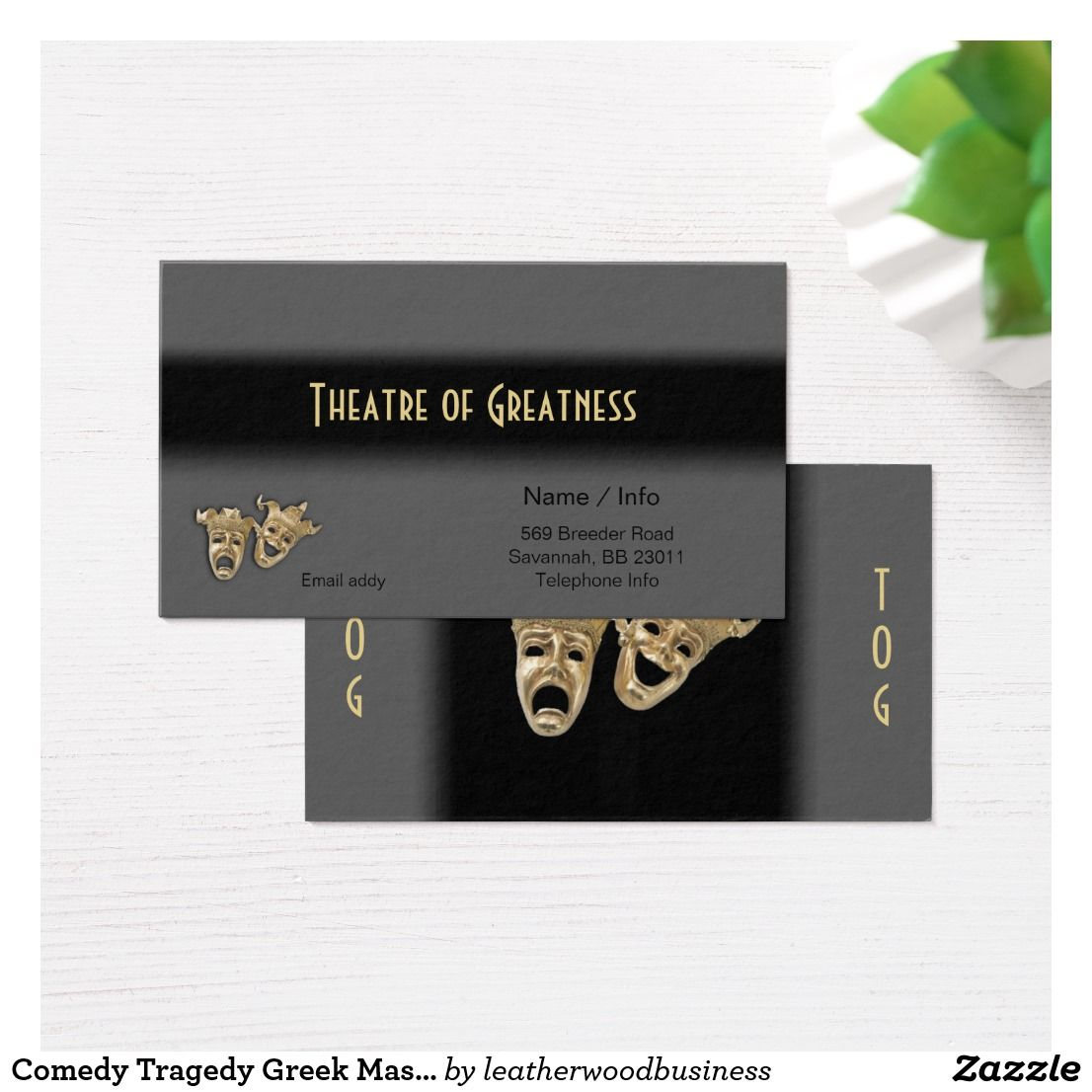 Comedy tragedy greek masks theater business card colourmoves Gallery