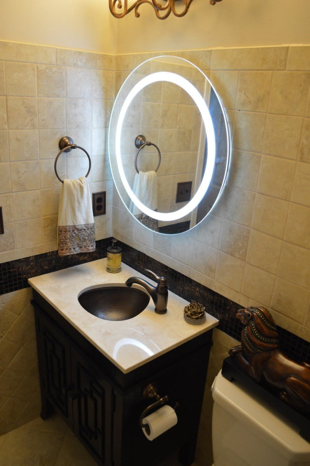 28 Wall Mounted Lighted Vanity Mirror Led Mam1d28 Commercial Grade Round Bathroom Mirrors