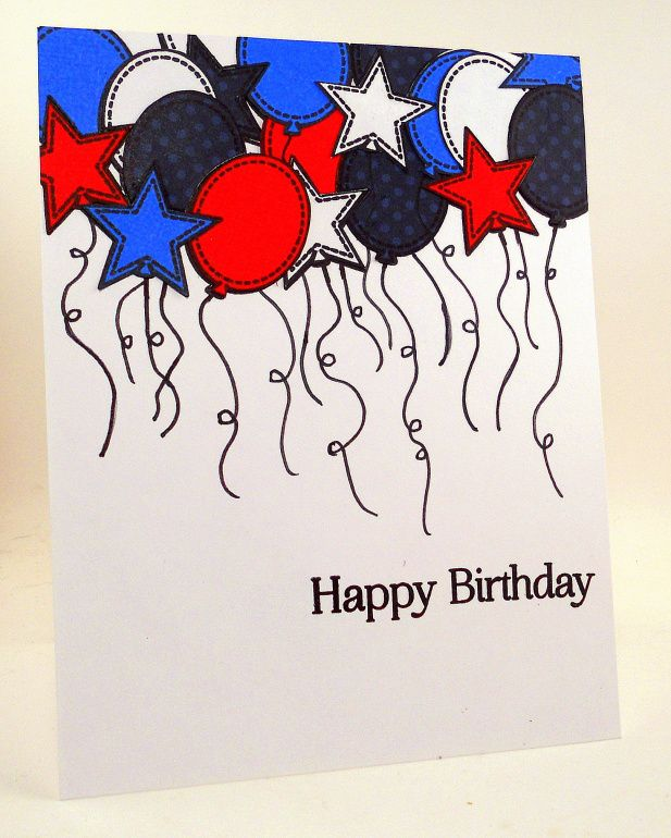 Balloons, Hero Arts, OWH, A2ZScrapbooking, Red, White, and Blue