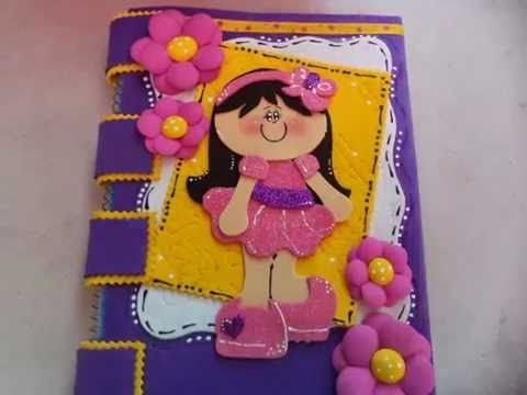 como decorar tus cuadernos con foami,facil - YouTube | cuadernos ...
