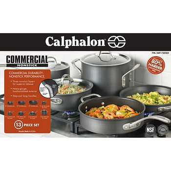 Calphalon 13 Pc Hard Anodized Cookware Set Calphalon Cookware Hard Anodized Cookware Cookware Set