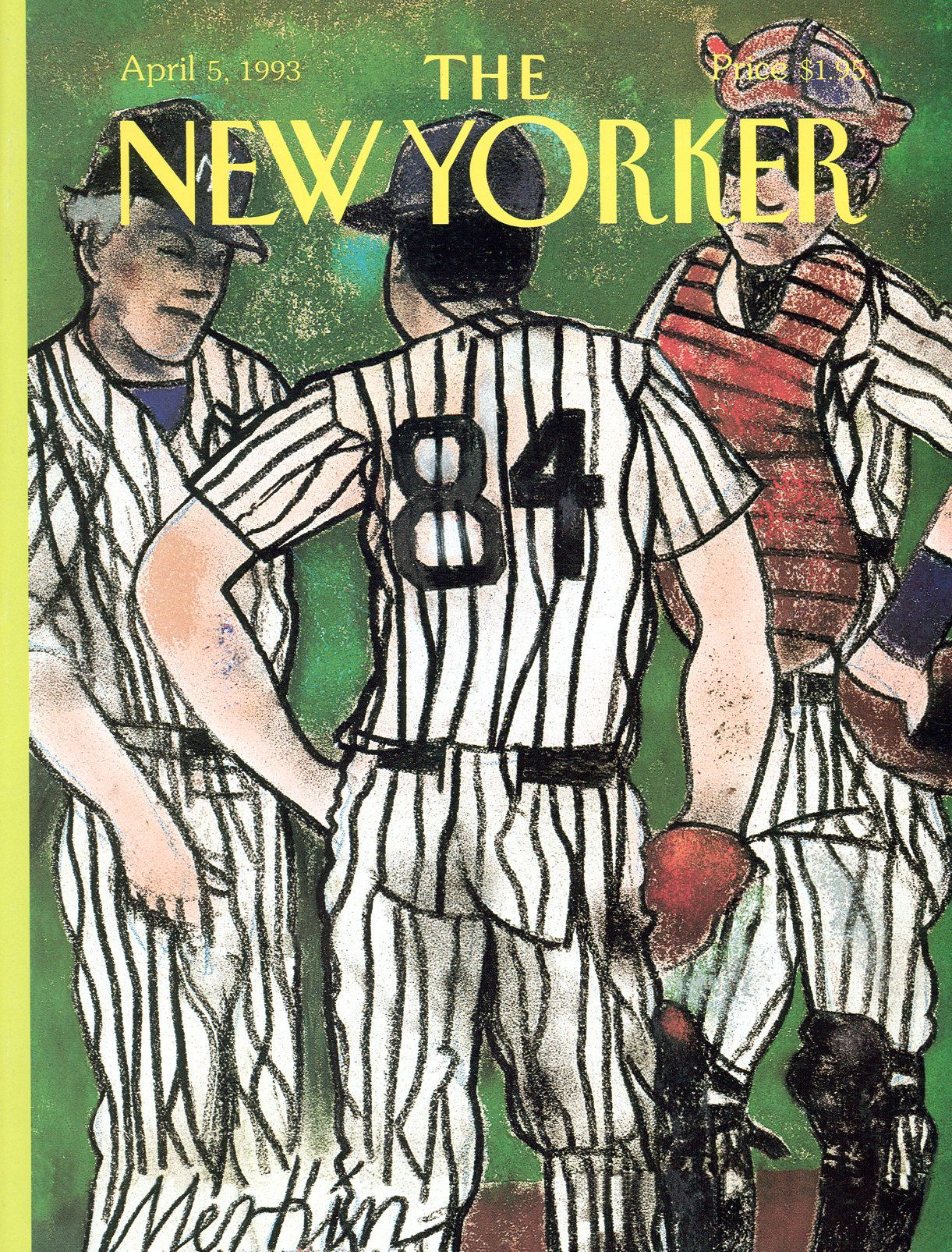 """The New Yorker - Monday, April 5, 1993 - Issue # 3554 - Vol. 69 - N° 7 - Cover """"The Changing of the Guard in the House That Ruth Built"""" by Richard Merkin"""