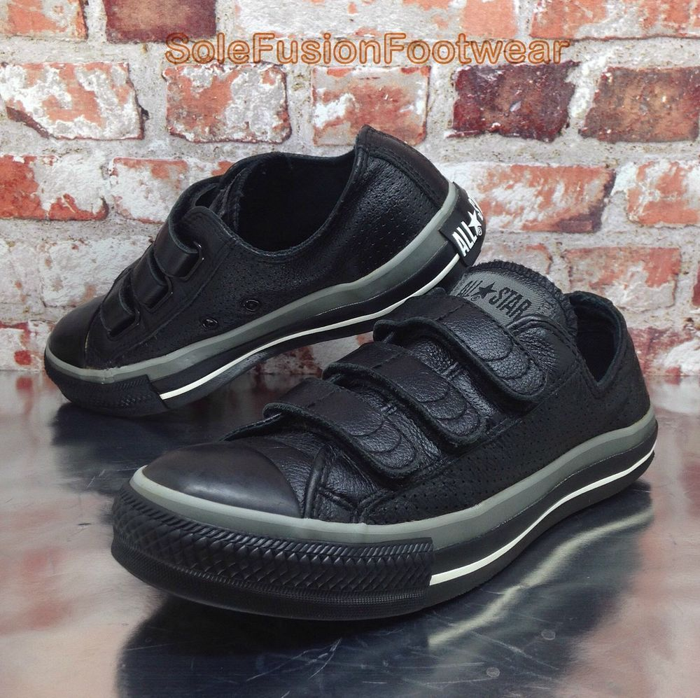 ea014fc5336c Converse All Star Leather Trainers Black sz 5 Boys Womens Unisex 3 Strap  Shoe 38