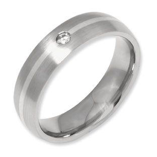 6mm Brushed Finish Silver Inlay Men S Anium Diamond Ring Available Exclusively At Gemologica