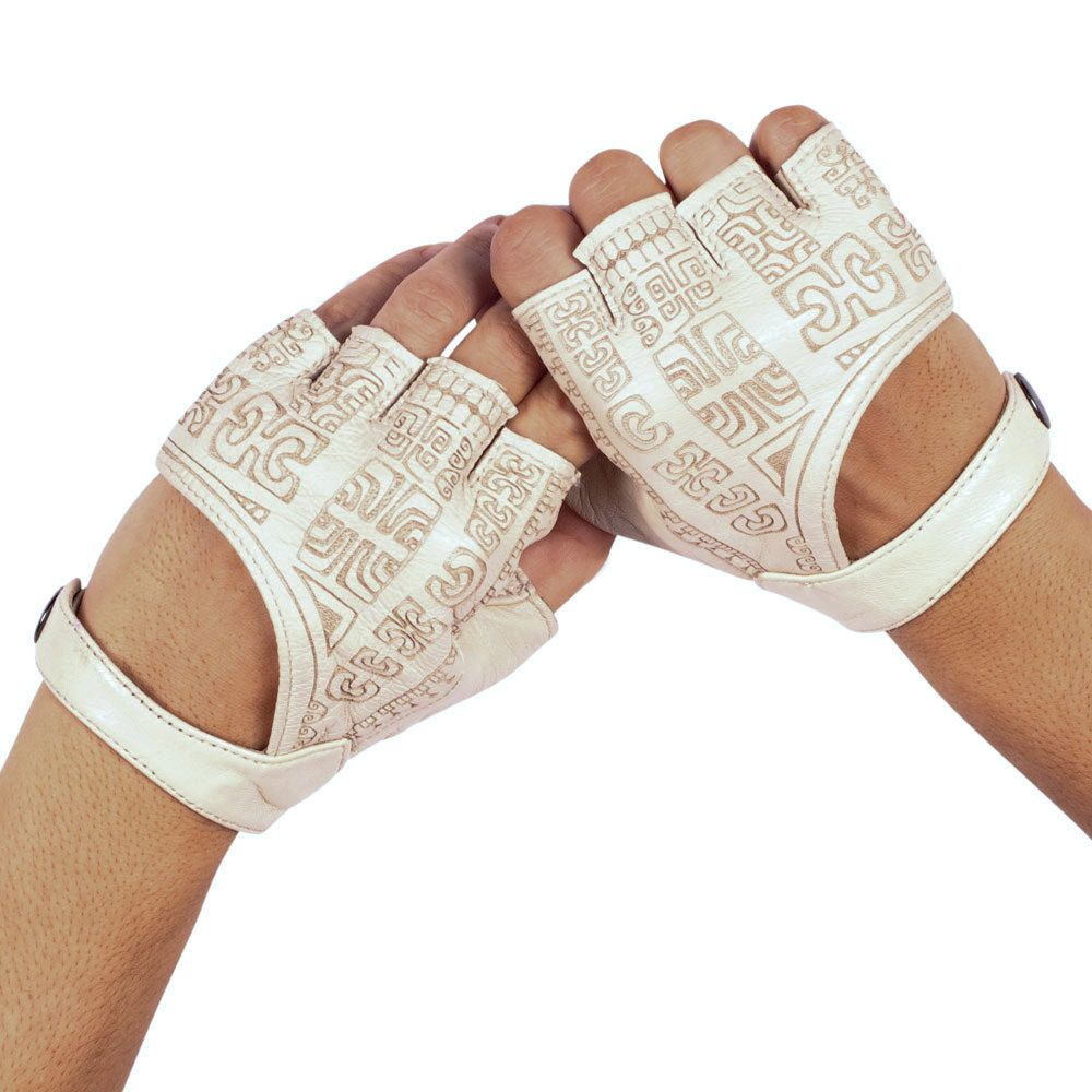 Womens beige leather gloves - Leather Gloves