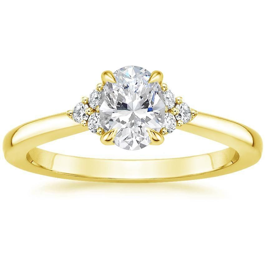 Oval Cut Melody Diamond Engagement Ring - 18K Yellow Gold