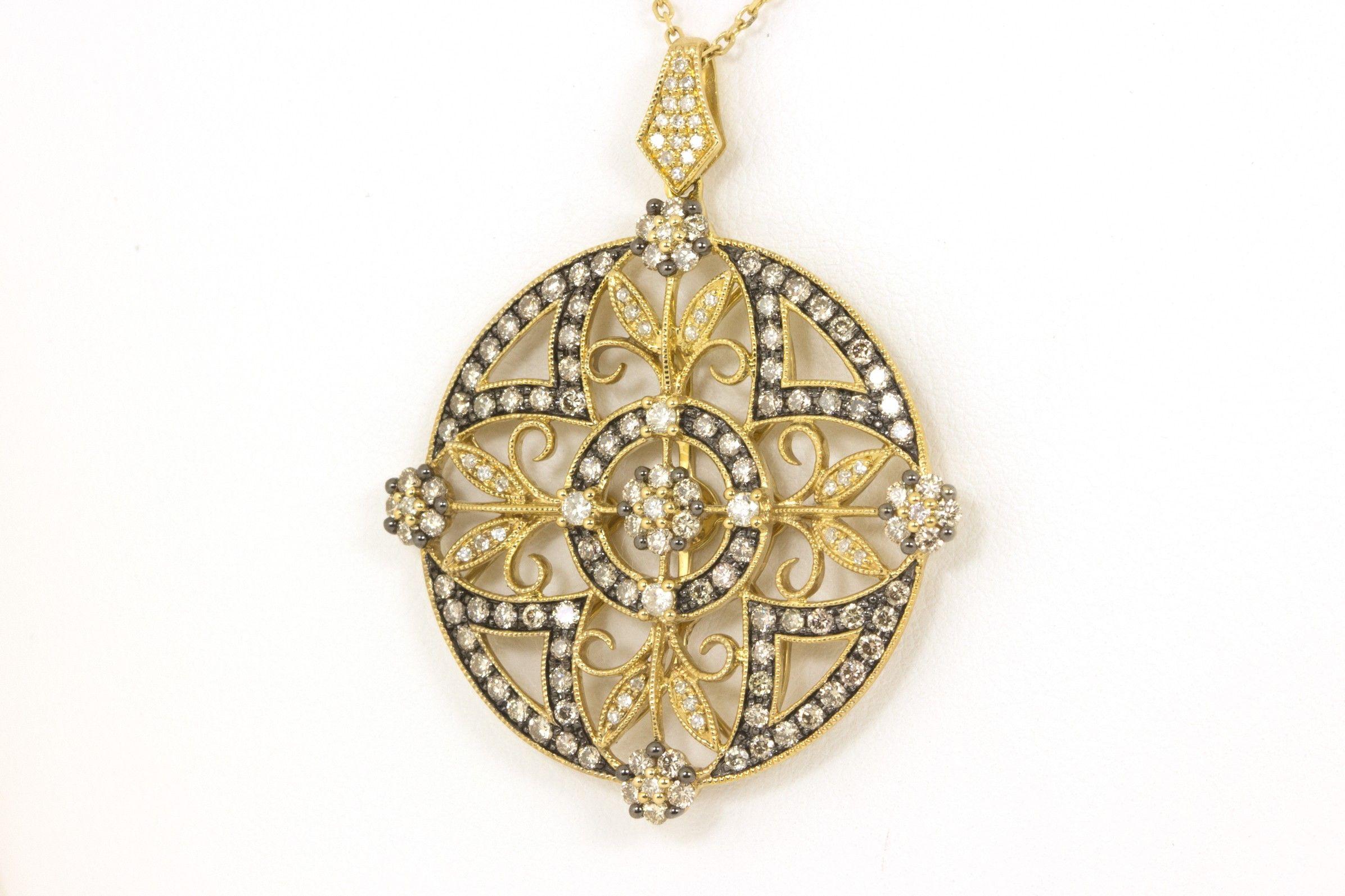 Filigree Diamond Pendant with Pave Diamonds and Black Rhodium Accent