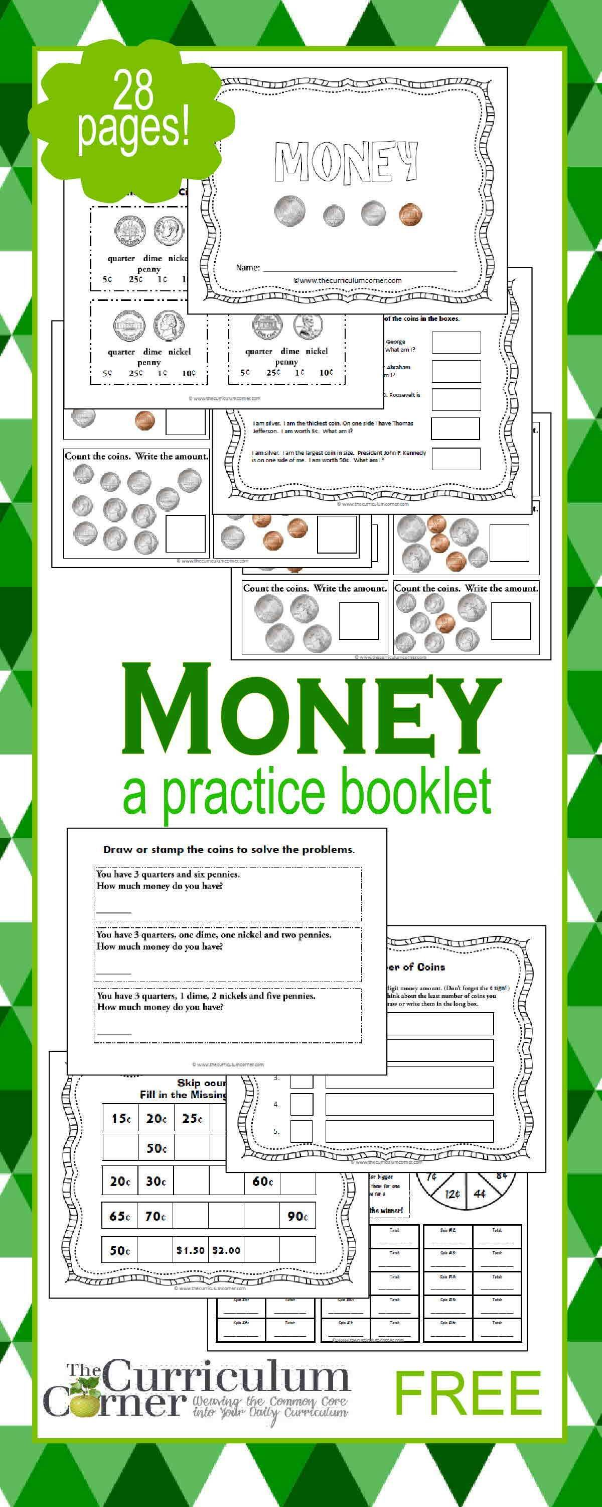 Counting Money Booklet With Images
