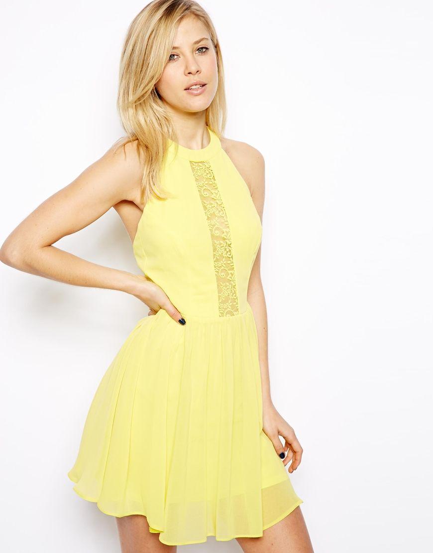 6510daefdb4 ASOS Lace Insert Halter Skater Dress in Yellow