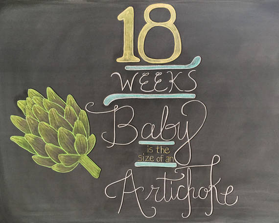 18 Weeks Pregnancy Chalkboard Sign