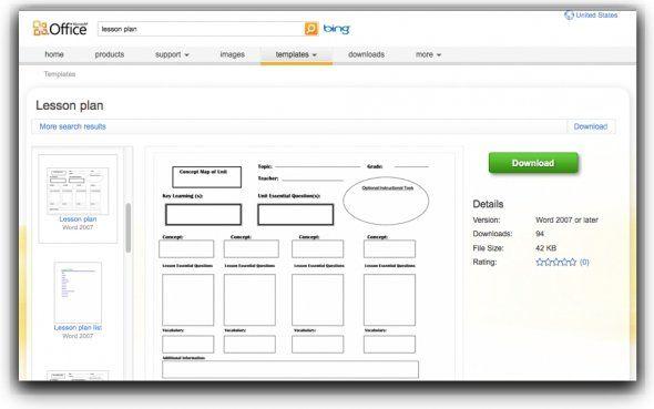 Microsoft Office Lesson Plan Templates Lesson Planning Pinterest