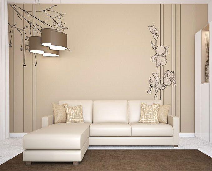 D co de salon en beige et blanc papier peint rayures et for Poser papier a peindre