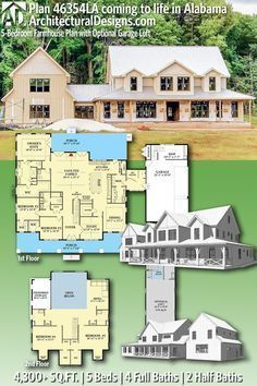 Plan 46354LA: 5-Bedroom Farmhouse Plan with Option