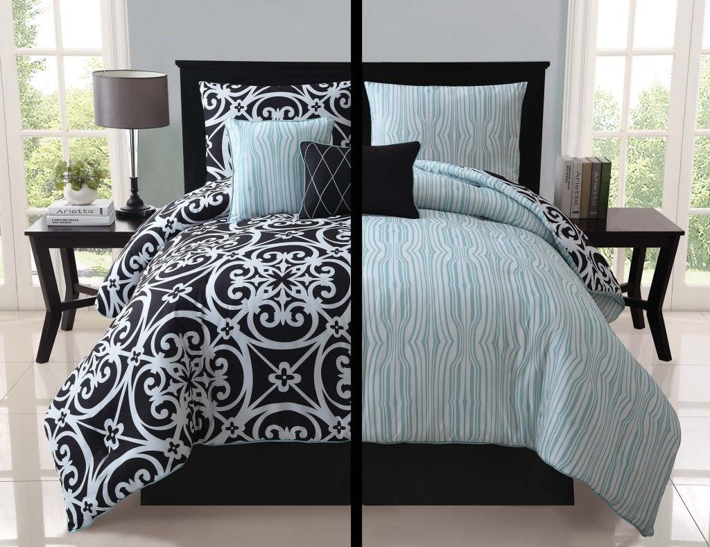 5pc Luxury Kennedy Black White Teal Reversible Comforter Set
