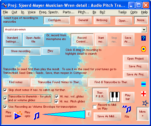 Audio Pitch Tracer - Bioacoustic Bird Song Transcriptions, Microtonal Transcribe to MIDI - Tune Smithy - Windows Software