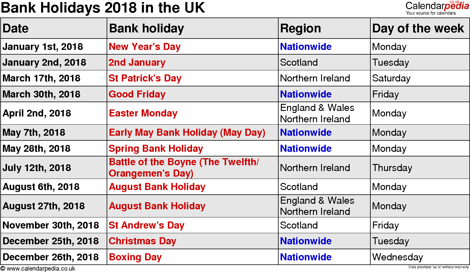 January 2018 Bank Holiday Holiday Calendar Calendar Uk Holidays In England