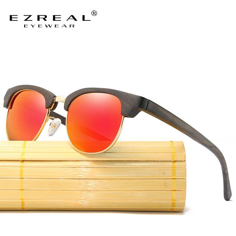 6969ef79812ae EZREAL Bambu Óculos De Sol Femininos Do Vintage Metade Quadro Óculos De Sol  Dos Homens de Madeira Feitos À Mão Óculos de Sol Para As Mulheres oculos de  sol ...