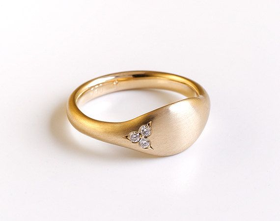 Diamonds Gold Pinky Ring Solid 14k 18k Yellow Gold Ring Etsy Signet Rings Women Gold Pinky Ring Gold Rings
