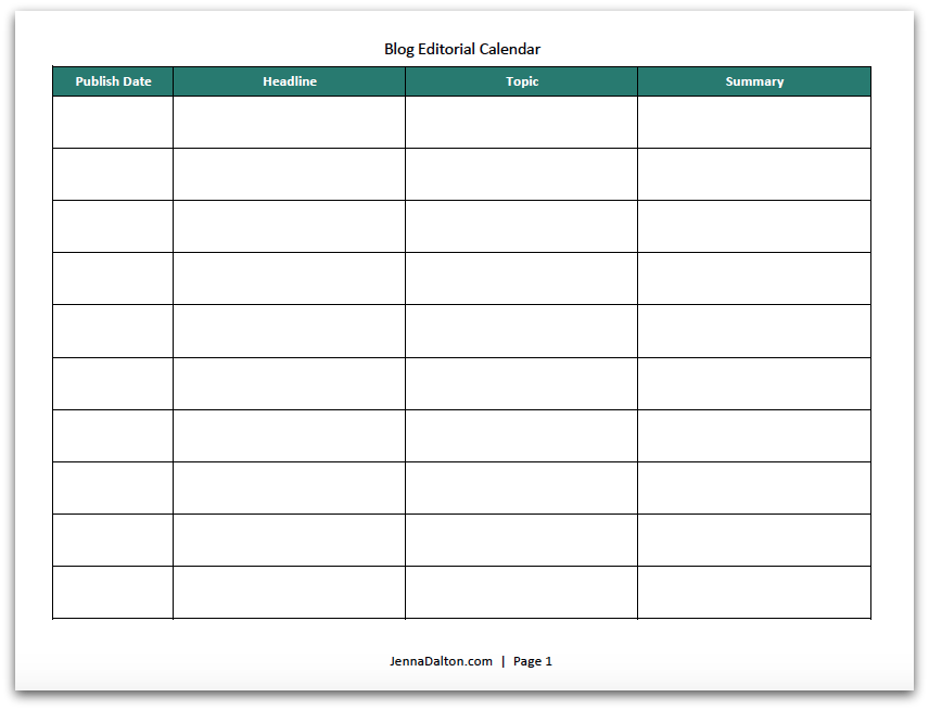 Check Out This Free Blog Editorial Calendar Template From - Blog content calendar template