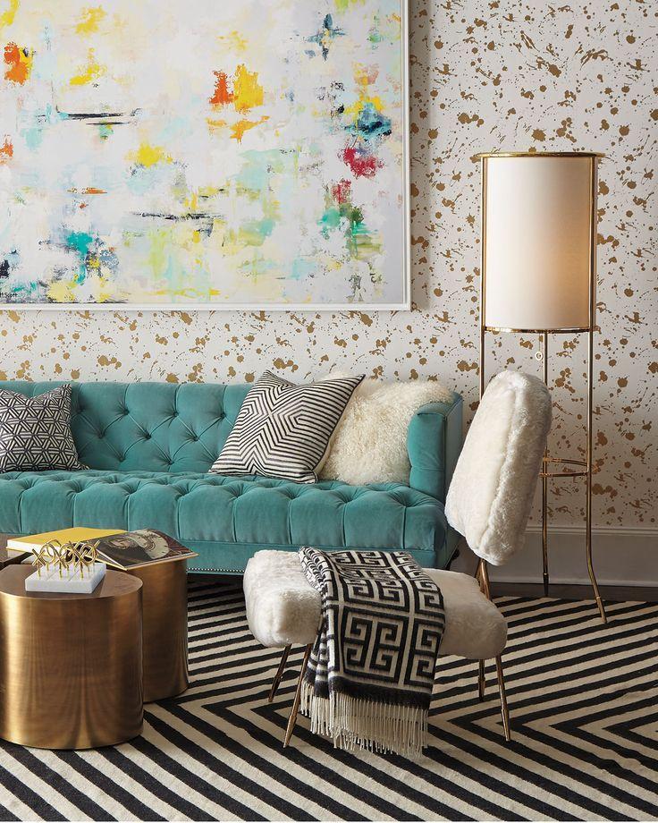 Turquoise Tufted Sofa More
