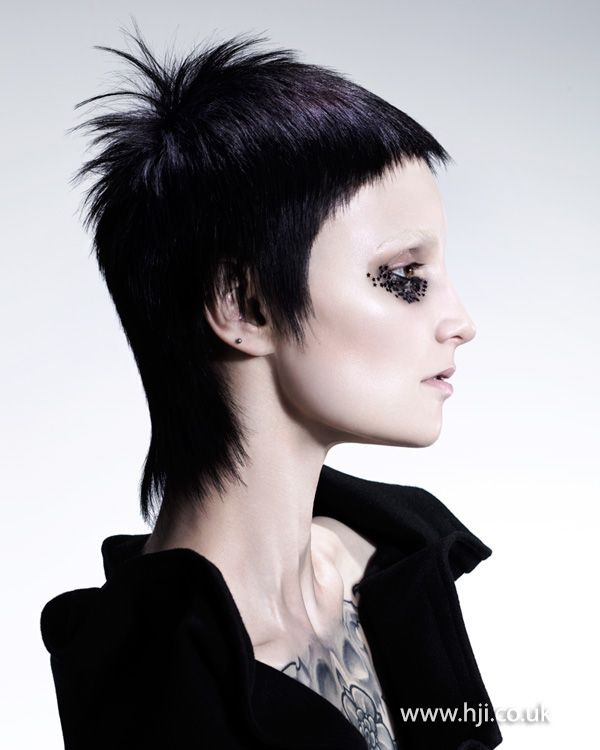 Edgy Punk Haircuts: 2015 Black Mullet Hairstyle With Short Fringe
