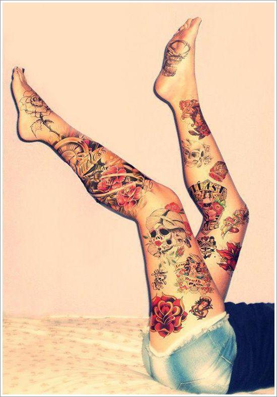 Sexy Bein Tattoos für Mädchen