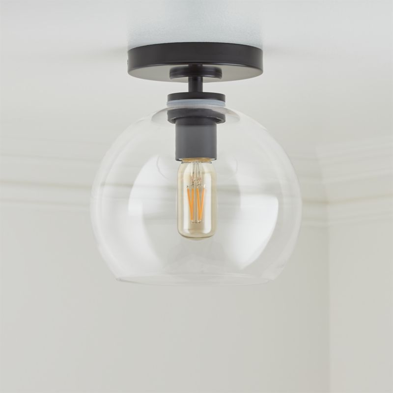 Arren Black Flush Mount Light With Clear Round Shade Black Flush Mount Light Flush Mount Lighting Low Ceiling Lighting