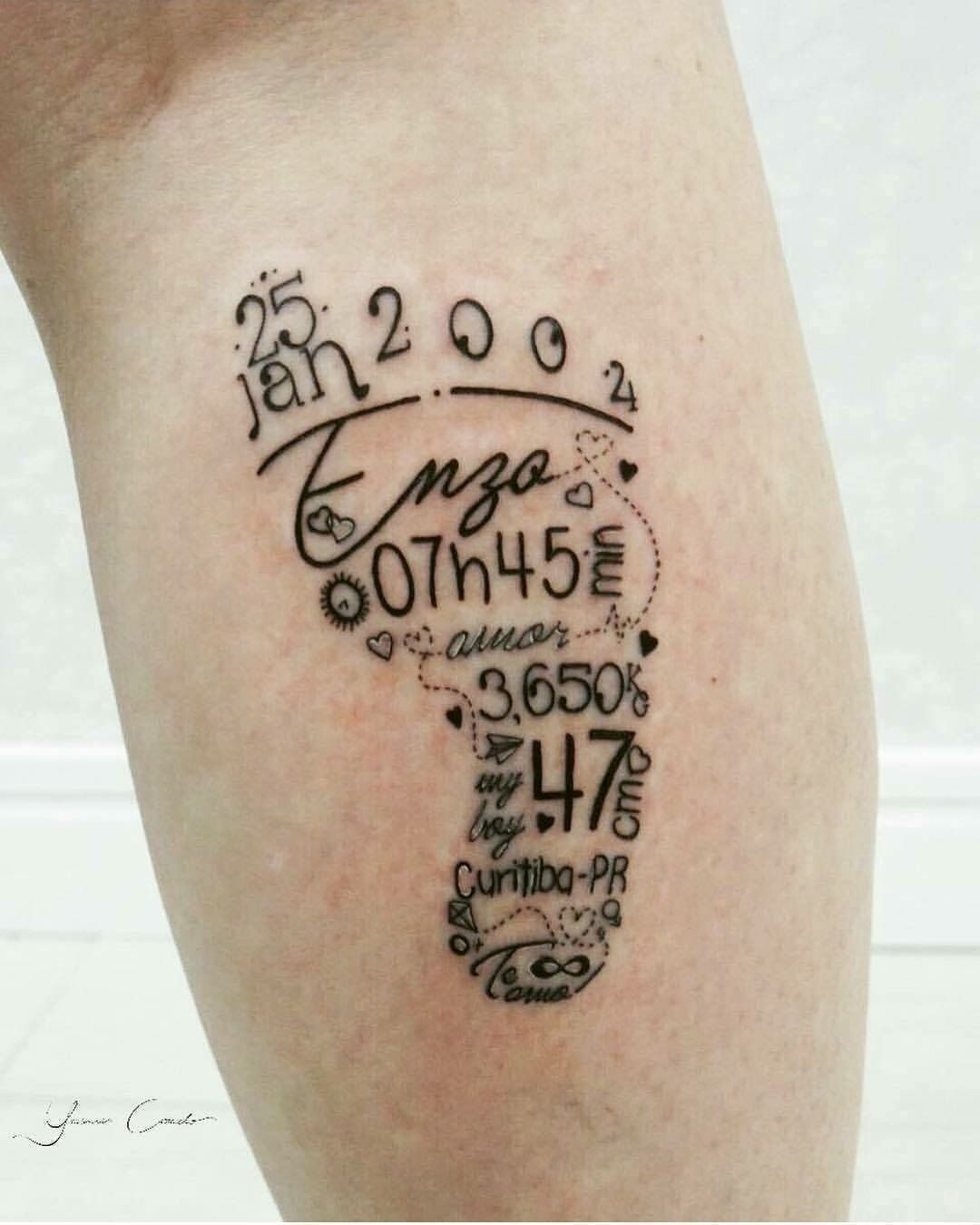 Baby Foot Birth Date Weight Name Tattoo Really Nice Tattooinfo