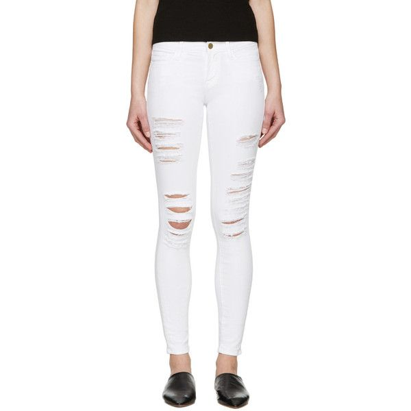 Frame Denim White Le Color Ripped Jeans ($180) ❤ liked on Polyvore ...