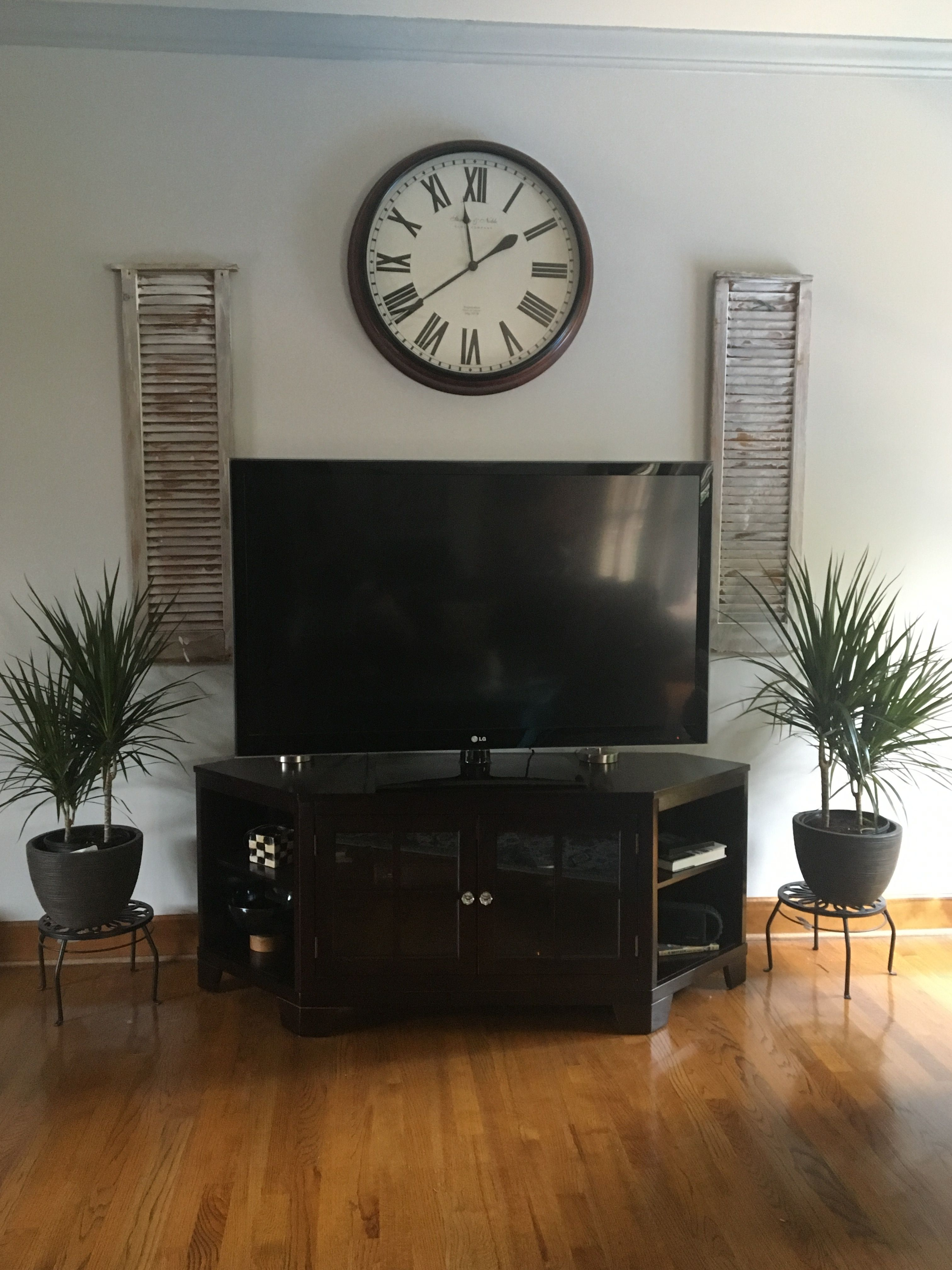 Decorating Around A Tv Stand Wood Shutters And Air