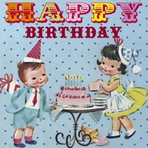 VINTAGE RETRO BOY GIRL TEA PARTY CAKE BIRTHDAY CARD Ideas For Bolans Traditional Birthday Party
