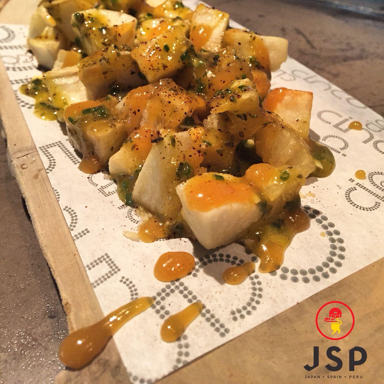 Yuca Brava Style***** Yuca patatas Bravas style,Egg Vinaigrette,Fresh Cress Cinco JSP Let's rock \m/