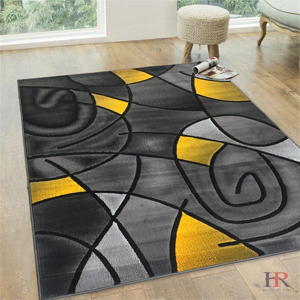 Modern Abstract Mixed Color Patterns Grey And Yellow Creates The