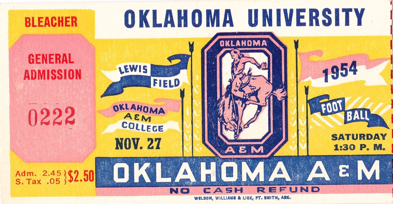 Oklahoma football tickets! 1954 OU vs. OSU. The best ...