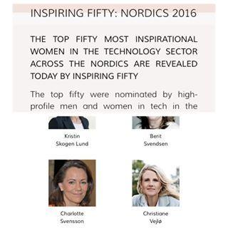 @elektronista: Meget stolt af at være i det dygtige selskab på den her top 50 liste over kvinder i nordic tech.  #inspiringfifty #womenintech #tech #geekgirls #techbusiness #elektronista