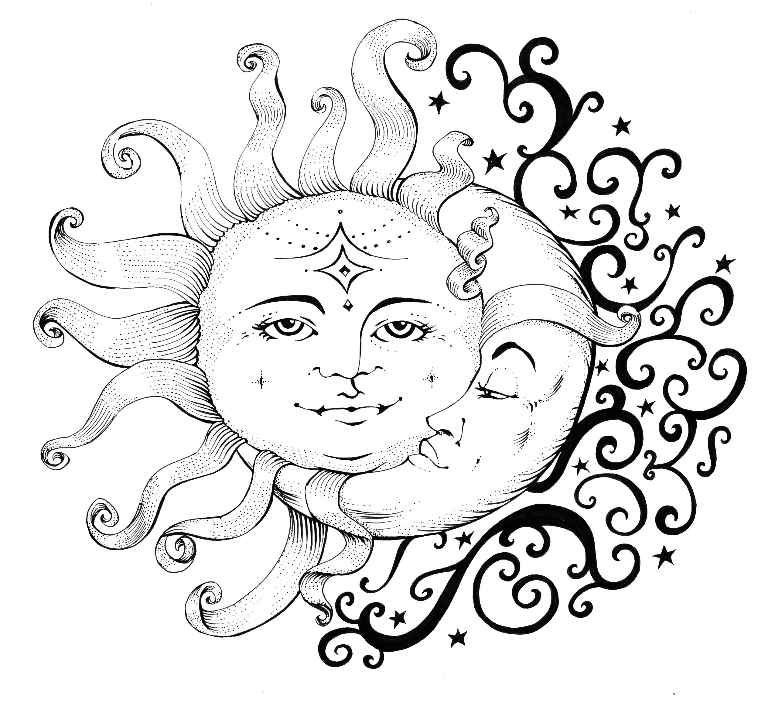 Shadiah Ink Wind Weather Drawing Celestial Sun Moon Dreaming Https Www Facebook Com Shadiahart Moon Coloring Pages Drawings Art