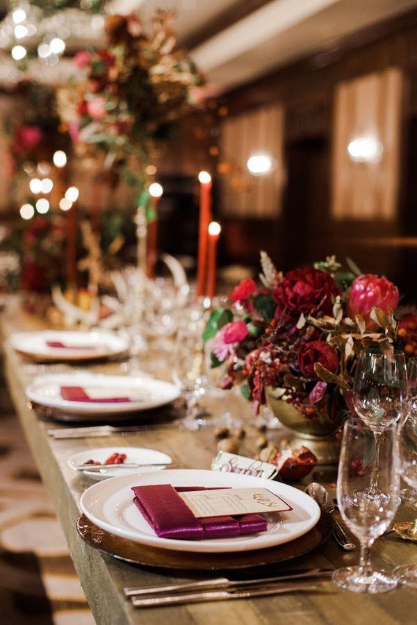 Stunning Winter Marsala Mountain Wedding Red Wedding Ideas