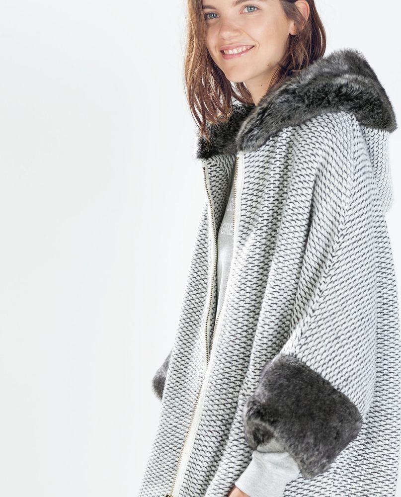 30a477fc NWT ZARA Faux Fur Hood Gray Poncho Coat Cape Jacket One Size - Size M #ZARA  #OtherCoats