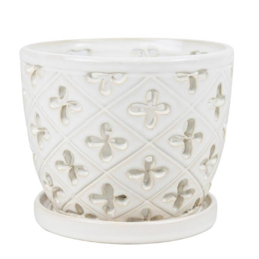 Allen Roth 8 In Orchid Pot With Saucer White At Lowes Com White Ceramic Planter Ceramic Planters Orchid Pot