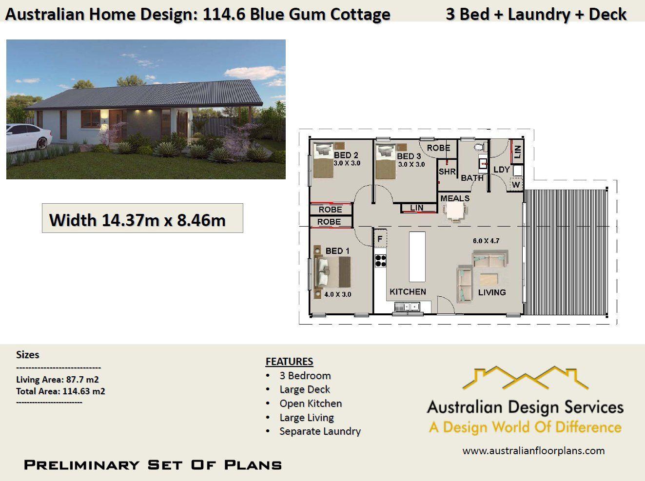 114.6 Australian 3 Bedroom Floor Plan 114.63 m2