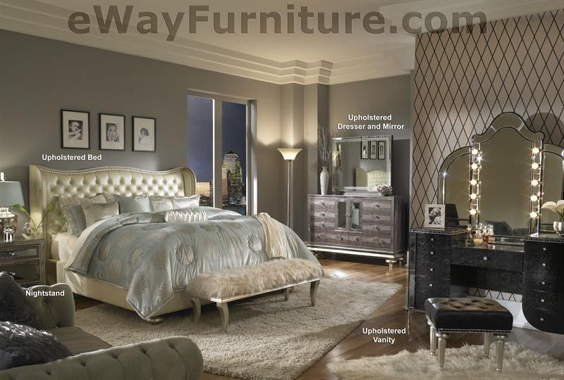 Creamy Pearl White Leather Crystal King Bed Bedroom Set Master Furniture