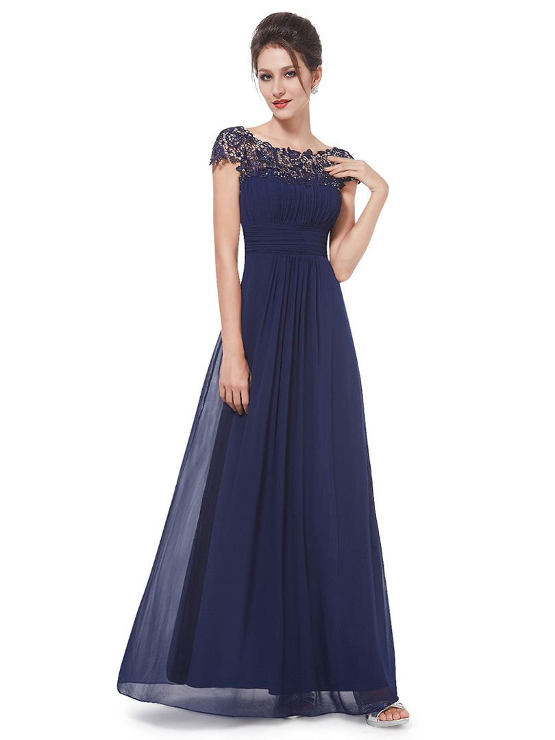 Navy Elegant Rhinestone Lace Paneled Open Back Ruched Front Maxi ...