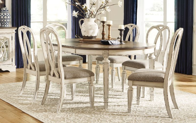 D743 35 02 7pc 7 Pc Realyn Distressed White Finish Wood French Country Oval Round Dining Table Set Round Dining Table Sets Round Dining Table Dining Table Setting