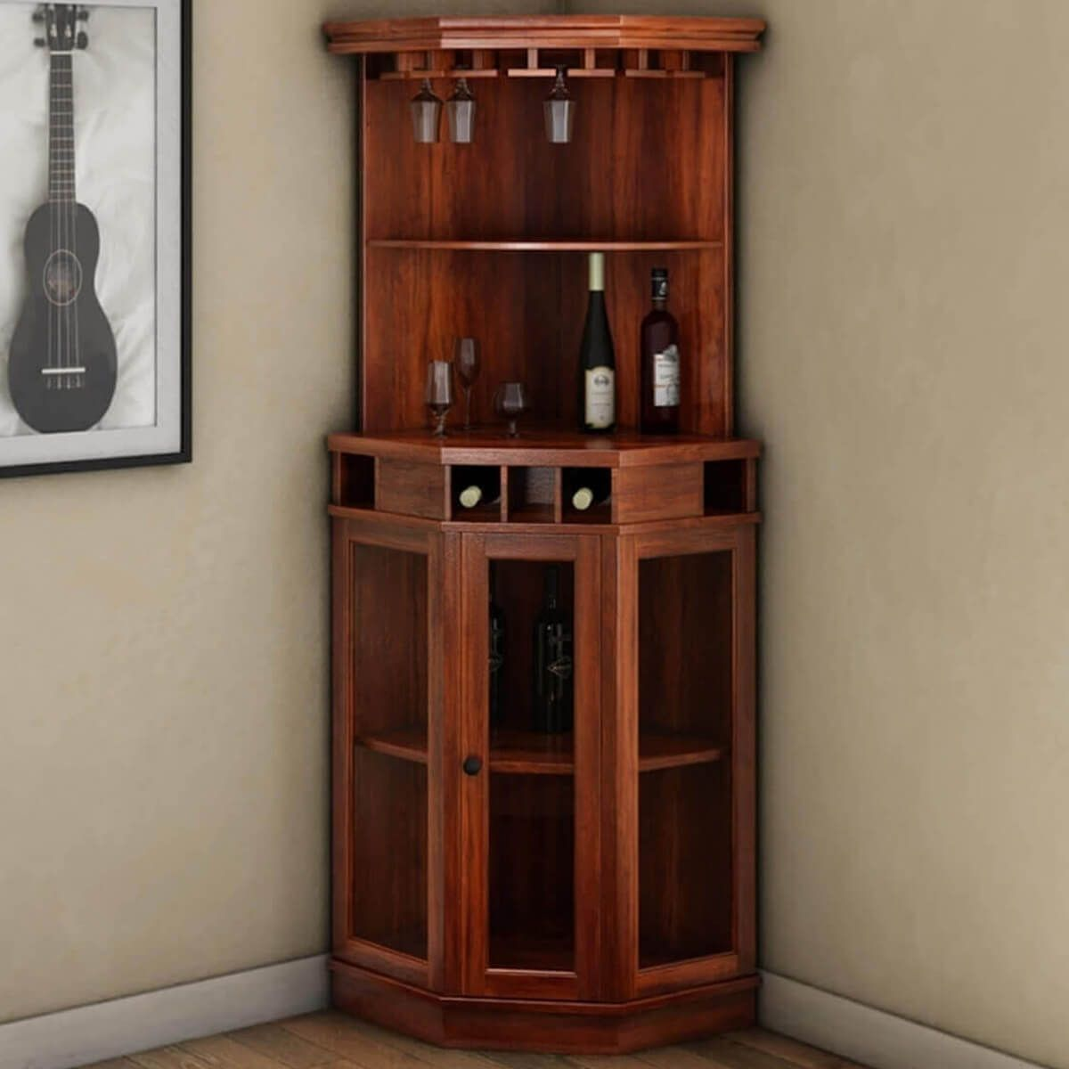 Solid Wood Corner Liquor Display Cabinet With Wine Storage In 2020 Corner Liquor Cabinet Corner Wine Cabinet Glass Cabinet Doors