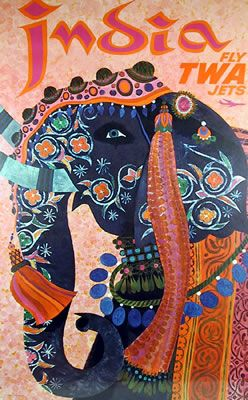 David Klein India TWA Travel Poster