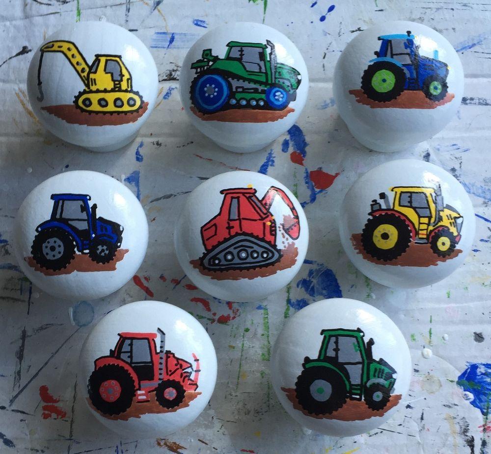 Tractor Farm Vehicles Pine hand painted drawer door knobs handles ...
