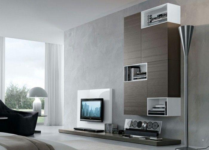 ideen für wandgestaltung betonoptik wohnbereich moderne wohnwand
