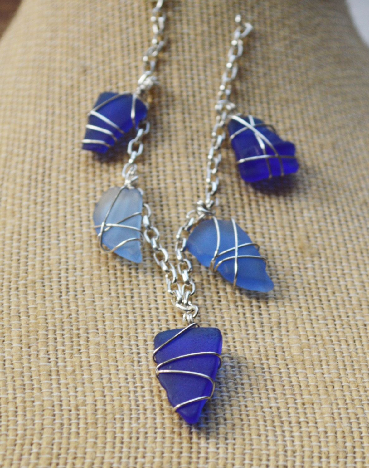 Cobalt Blue Sea Glass Wire Wrapped Bracelet 8 inches, Beautiful Blue Mermaid Jewelry, Christmas present for Beach Lover, Mermaid by GulfCoastTreasure on Etsy https://www.etsy.com/listing/466176440/cobalt-blue-sea-glass-wire-wrapped