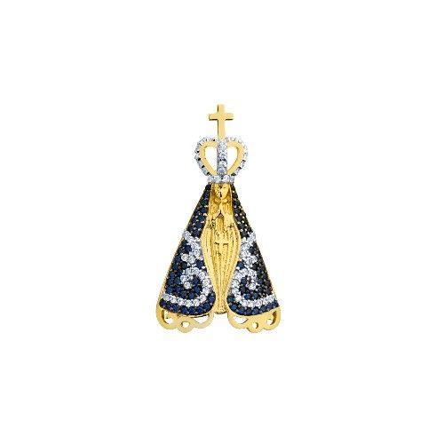 dfad8f31a0a3f Pingente em Ouro 18k Nossa Senhora Aparecida com Zircônia pi18107 -  Joiasgold