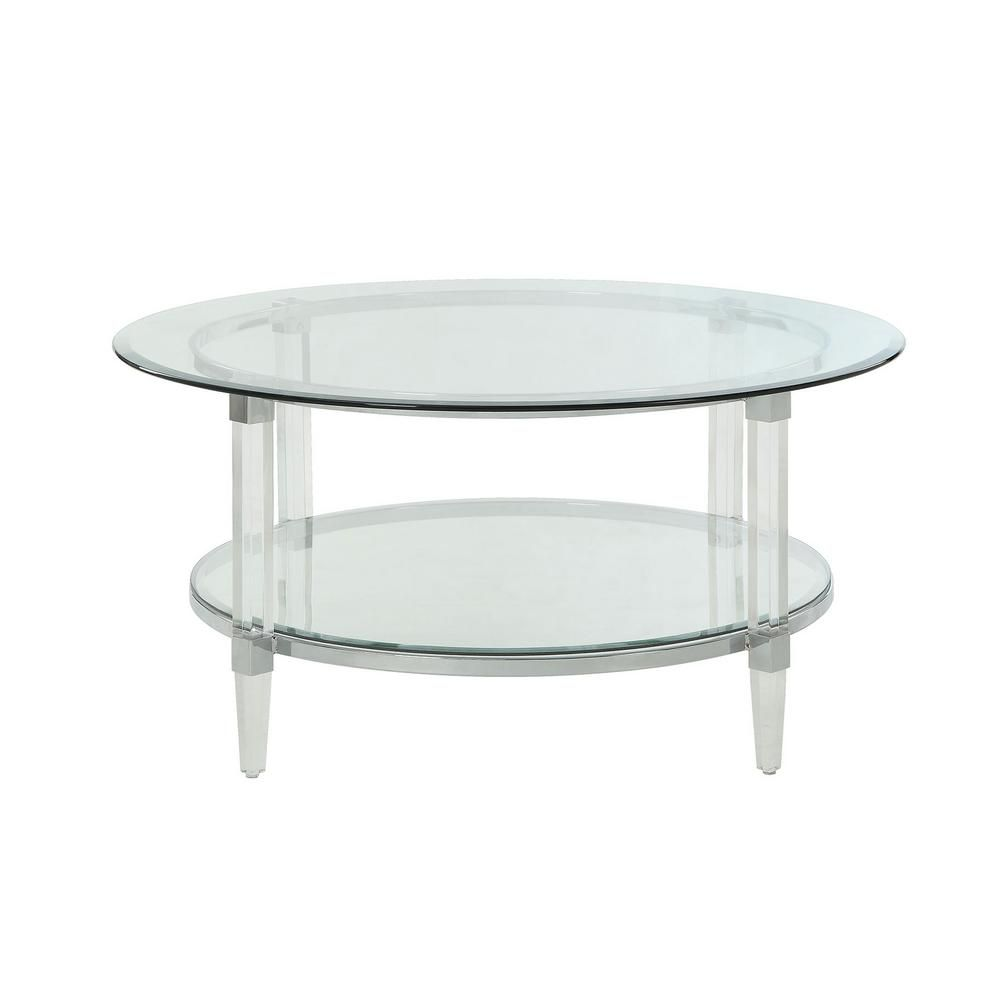 Acme Furniture Polyanthus Clear Acrylic Chrome And Clear Glass Coffee Table 80945 The Home Depot Coffee Table Tempered Glass Table Top Glass Table Set [ 1000 x 1000 Pixel ]